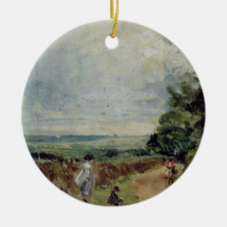 A Country road with trees and figures Christmas Ornament