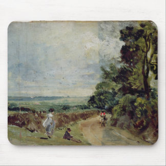 A Country road with trees and figures Mouse Mat