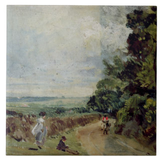 A Country road with trees and figures Tile