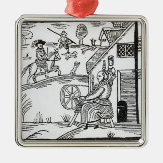 A Country Scene with a woman spinning Silver-Colored Square Decoration