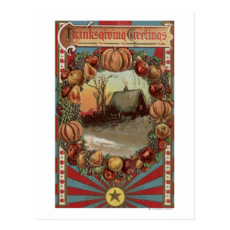 A Country Scene with Produce Border Postcard