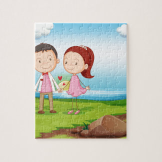 A couple at the riverbank near the rocks jigsaw puzzle
