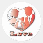 A couple in love round sticker
