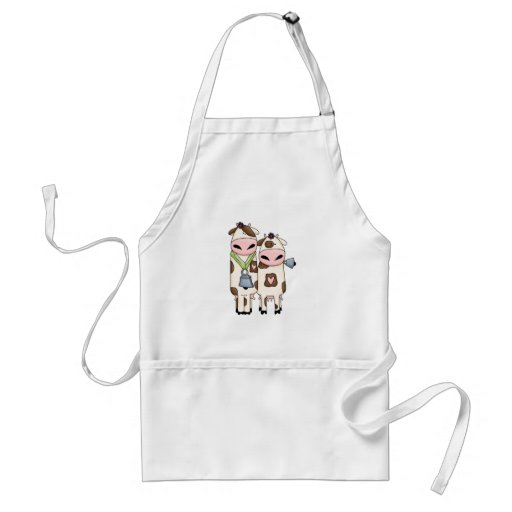 a couple of cute moo cows adult apron