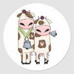 a couple of cute moo cows classic round sticker