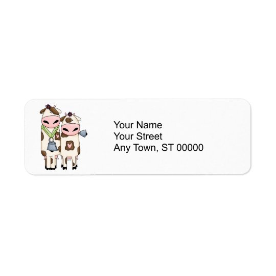 a couple of cute moo cows return address label