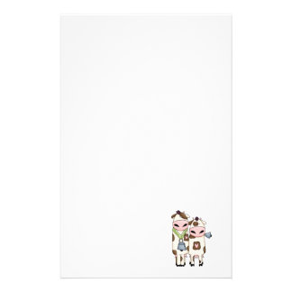 a couple of cute moo cows stationery