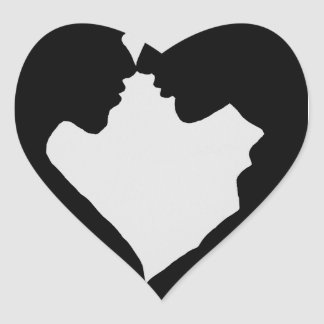 a couple silhouette heart shaped heart sticker