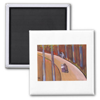 (A COUPLE STROLLING) SQUARE MAGNET