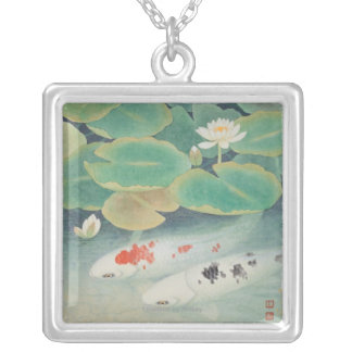 A Couple under Lotus Silver Plated Necklace