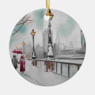 A couple walking in snowy London Gordon Bruce Christmas Ornament