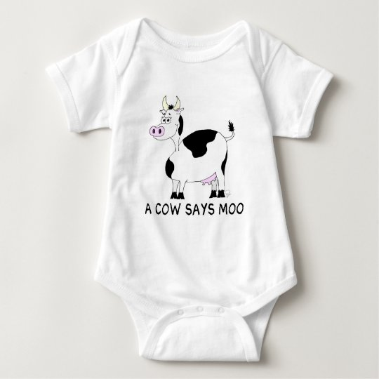 A Cow Says Moo Baby Bodysuit