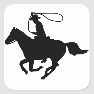 A cowboy riding with a lasso. square sticker