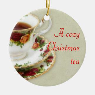 A Cozy Christmas Tea Round Ceramic Decoration