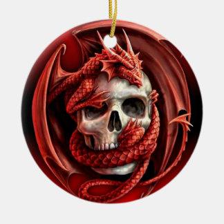 A cr�ne for Halloween - Round Ceramic Decoration