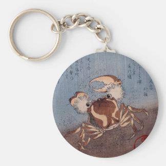 A Crab on the Seashore by Utagawa Kunisada Basic Round Button Key Ring