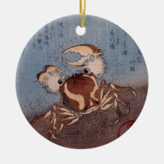 A Crab on the Seashore by Utagawa Kunisada Round Ceramic Decoration