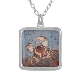 A Crab on the Seashore by Utagawa Kunisada Square Pendant Necklace