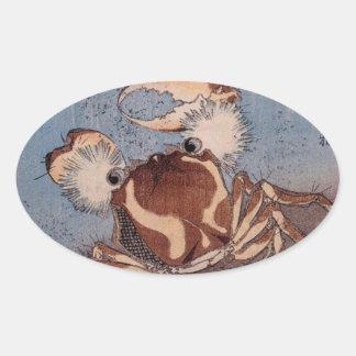 A Crab on the Seashore by Utagawa Kunisada Oval Sticker