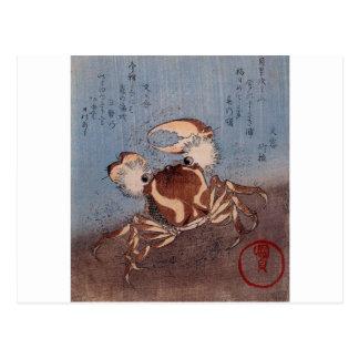 A Crab on the Seashore by Utagawa Kunisada Postcard