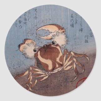 A Crab on the Seashore by Utagawa Kunisada Round Sticker