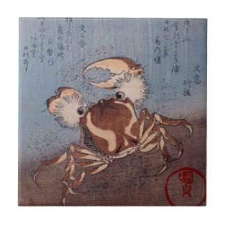 A Crab on the Seashore by Utagawa Kunisada Small Square Tile