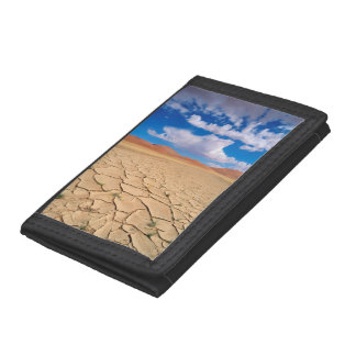 A cracked desert plain trifold wallet
