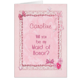 A craft look Maid of Honor invitation Greeting Card