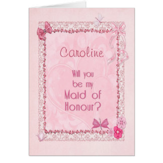 A craft look Maid of Honour invitation Greeting Card