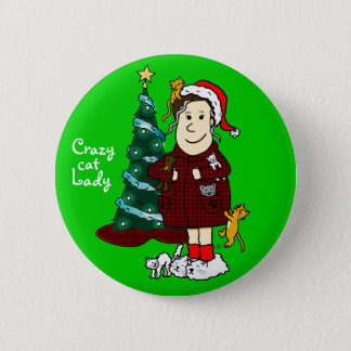 'A Crazy Cat Lady Christmas' 6 Cm Round Badge