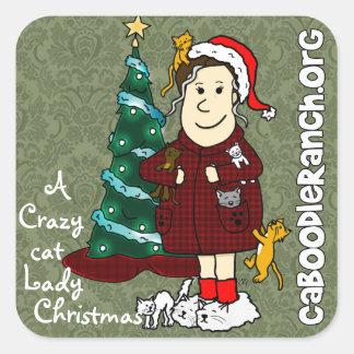 'A Crazy Cat Lady Christmas' Square Sticker