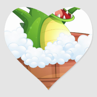 A crocodile taking a bath heart sticker