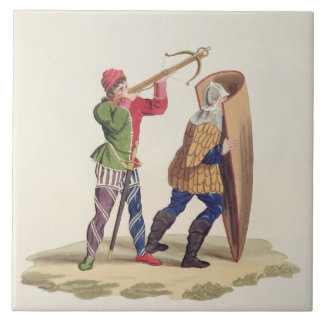 A Cross-bowman and his Paviser, 1433, from 'Ancien Large Square Tile