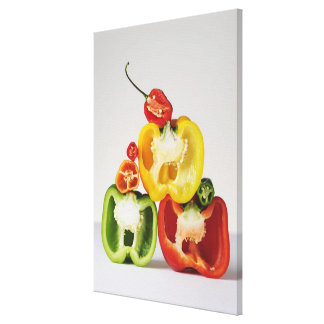 A cross-section of peppers canvas print