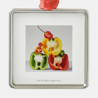 A cross-section of peppers christmas ornament