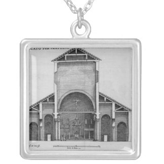 A Cross-Section of the old Vatican church Silver Plated Necklace