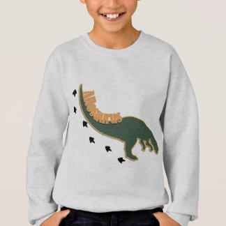 A Crouched Allosaurus Dinosaur in Green Sweatshirt