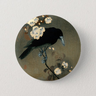 A Crow and Blossom by Ohara Koson Vintage 6 Cm Round Badge