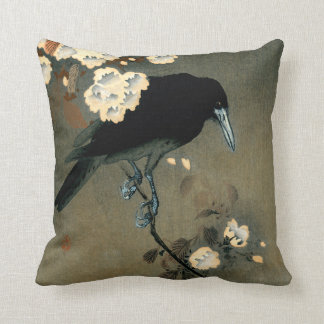 A Crow and Blossom by Ohara Koson Vintage Cushion