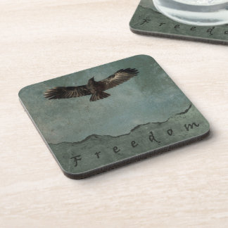A Crow in Flight on Green & Grey Grundy Background Coaster