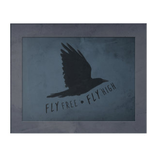 A Crow in Flight on Grungy Blue & Gray Background Acrylic Wall Art