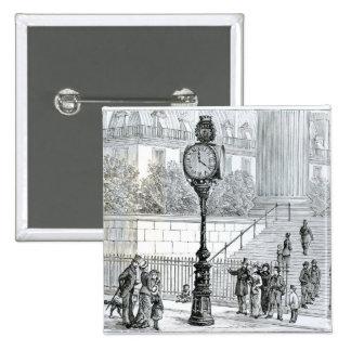 A Crowd Admires a Pneumatic Clock 15 Cm Square Badge