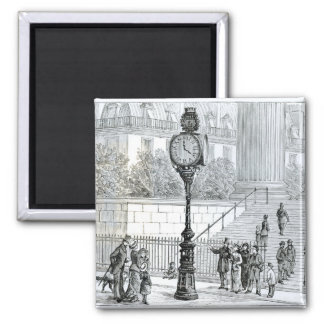 A Crowd Admires a Pneumatic Clock Square Magnet