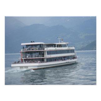 A cruise ship and beautiful scenery photo art