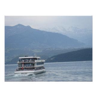 A cruise ship and beautiful scenery photo print