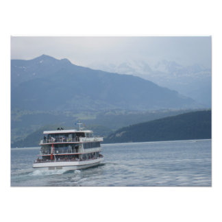 A cruise ship and beautiful scenery photo print
