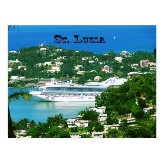 A Cruise Ship docked at St. Lucia Postcard