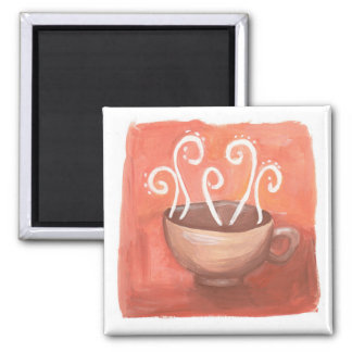 A cup of hot coffee or tea magnet