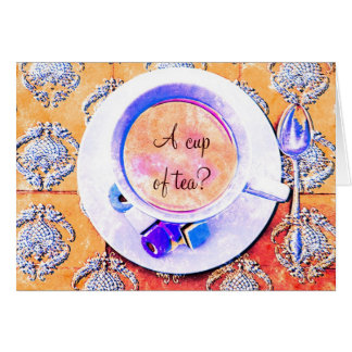 A cup of tea - teacup victorian styled greeting card