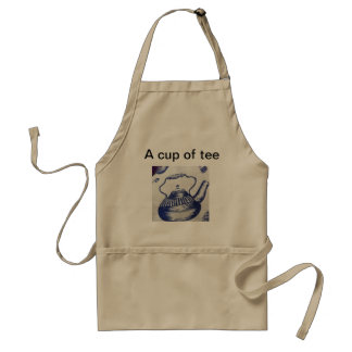 A cup of tee brown apron